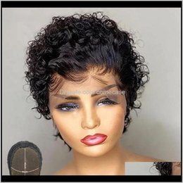 short hair bleach 2021 - Wigs Atina Cut Human Hair Natural Color Pixie Wig Short Curly Bob 4X4 Lace Closure Pre Plucked Bleached Knots Remy Rrqah P6Woc