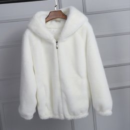 black faux fur trim UK - Pure White Pink Black Hooded Faux Fur Coat Women's Autumn Winter Thick Warm Soft Fluffy Zipper Jacket Casual Loose Outerwear