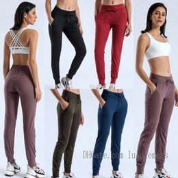 Lu Yoga Tecido Naked-sensação de treino esporte corredores calças lulu womens cintura cordão fitness correndo suor calça com dois bolso lateraldftk # em Promoção