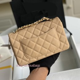 designer quilted bags UK - Factory Womens handbags purses small 20cm classic quilted flap chain bag with series number box shoulder bags bolsos g