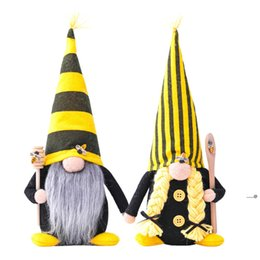 plush toy dolls angels 2021 - party decoration Nordic Bumble Bee Striped Gnome Lemon Faceless Doll Tree Hanging Ornament Decorative Plush toy Little Angel pendent FWB6086