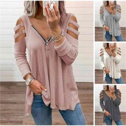 cotton polyester blend t shirts UK - Womens T shirt Blouse Long Sleeve Loose Cotton Blend Women Hollow Out Cold Shoulder T-shirt Top for Spring