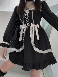Wholesale cosplay lolita dress long sleeve resale online - Dresses black white long sleeve maid Outfit Anime lolita dress women victorian vintage y2k girls gothic bandage Cosplay party