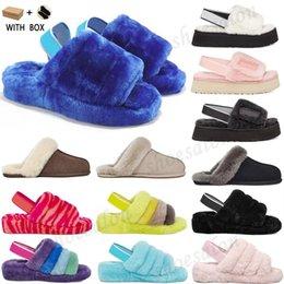 Wholesale 2021 puffer australian us womens designer slipper furry fluff yeah slides pantoufles fur luxury sandals #5920