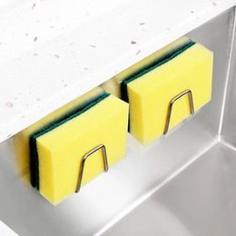 Stainless Steel Sponge Holder Kitchen Sink Drain Rack Self Kitchen Shelf Adhesive Sponges Drainer Rack Organizer RRD7506 on Sale