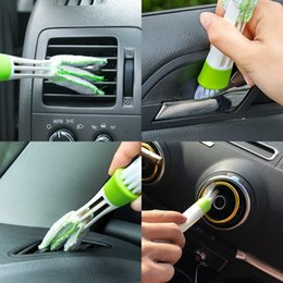 Toptan satış Araba Klima Havalandırma Yarık Temizleme Fırçası Oto Dashboard Klavye Bilgisayar Pencere Temizleyici Toz Panjur Fırça Araçları QC22