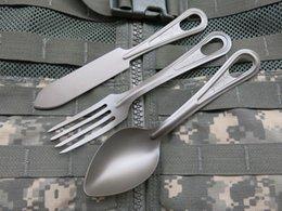 DRUPESFISH TA2 PURE TITANUM MATEL 304 RVS Camping Keuken Servies Meskit Mes Vork Lepel US Military Army Style Tactical Sports Survival Climbing