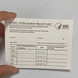 venda por atacado 4 * 3inch Papel CDC Papel Vacination Files de Cartões de Registro Vacinados Cartões de visita Preencha as informações