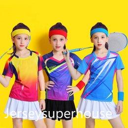 Çocuk Badminton Takım Kısa Kollu Kızlar Tenis Gömlek Skirtt Setleri Kız Ping Pong Giyim Çocuk Voleybol Kitleri Spor Giyim