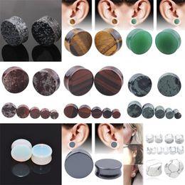 Toptan satış Alisouy 2 adet / grup taş kulak tıkaçları göstergeleri küpe kulak tıkacı et tüneli piercing genişletici kulak sedye vücut piercing takı 1721 Q2