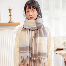 korean scarves for women UK - 100% Wrap Scarves For Women 2021 Shawl Wool Cashmere Winter Blanket Scarves And Pink Plaid Wool Korean Cccvm