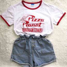 planet pizza al por mayor-Hillbilly Divertido Pizza Planeta Humor VERANO T SHIRT CAMISEA ROJA DE LADRES MANGULOS CORTE MANGOS PODERS PLOSE TAPE CASE TOP O CUELLO HIPSTER TUMBLR