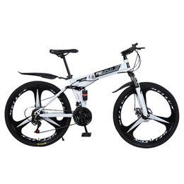 Новый белый 26-дюймовый 21-скоростной складной горный велосипед спица велосипед с двойным велосипедом для взрослых на Распродаже