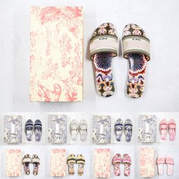 Wholesale [With box]Preferential Women Paris Dway Slide Slipper Ramour Sandals Fashion Embroidered Cotton Flat Flip Flops Leather Sole Silver Metallic Causal Shoes