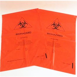tube red 18 2021 - 17.7''x 18'' 4mil Factory sales Yellow red Biohazard Bag hospital clinics infectious plastic disposable medical waste bags