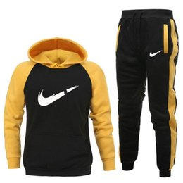 wholesale fashion sweatpants NZ - 2Pcs Set Men's Sportswear Sets 2021 Autumn Winter Hooded Thick Male Casual Tracksuit Men Fashion Sweatshirt + Sweatpants Set S-2XL
