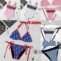 Damskie bikini sexy plaża bikini letnie podzielność strój kąpielowy listu mody drukowane strappy Siamese Split 10 Styl Swimwear One Piece 2021