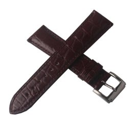 genuine crocodile leather watchband NZ - Watch Genuine Leather Crocodile Grain Alligator 19mm Watch 18mm Special 21mm Leather Watchbands Accessories Strap Pattern 20mm Brown 22 Qicd