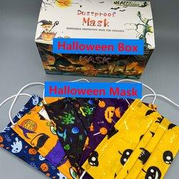 Máscara desechable de Halloween 5 estilos para niños adultos Mascarillas de cara con caja en venta