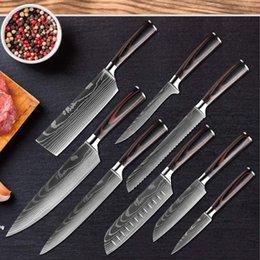 """Toptan satış Yüksek Quali Şef Bıçak, 8 """"Profesyonel Japon Paslanmaz Çelik Mutfak Şef Bıçak İmitasyon Şam Desen Keskin Dilimleme Hediye Bıçak"""