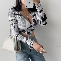 womens deep v t shirt 2021 - Fashion Newspaper Print Sexy Womens T Shirt Deep V Waistband Short Long Sleeve Tight Spring And Autumn Street