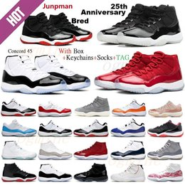 roter baron großhandel-Jumpman Retro air jordan jordans aj11 s jordon jordons th Anniversary Basketball shoes Top Quality Bred Concord Space Jam Men University Blue Red Barons Sneakers