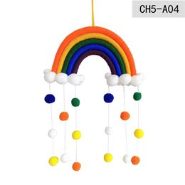 Rainbow Baby Room Decoration Manual Weave Cloud Ball Pendants Kids Room Wall Hanging Home Children Cute Multi Color 14jy G2 on Sale
