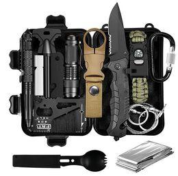 Großhandel Wasserdichte Fall Multifunktionale Selbstverteidigung SOS Wilderness Survival Kit Outdoor Multitool Kit Abenteuer Selbstverteidigungsset Survival Tool