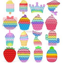 Wholesale DHL Push Bubbles Fidget Toys Cartoon Fruit Shape Ice Cream Color Anti-stress Soft Sensory Toy Puzzle Relieve Stress Squeeze Toy