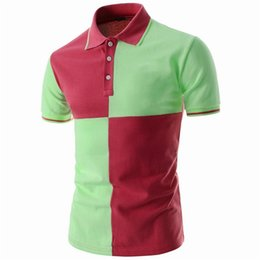 Wholesale green collar polo shirts men for sale - Group buy Polo Casual Fitness Wear Fashionable Green and Red Color Half Sleeves Down Collar T shirts for Men