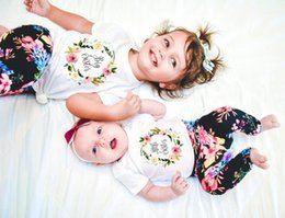funny baby outfits UK - 1pcs Big  little Sister Family Matching Outfit Short Sleeve Kids T Shirt Baby Bodysuit Jumpsuit Sisters Funny Clothes