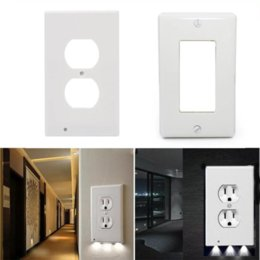 Wholesale High Quality Durable Convenient Outlet Cover Duplex Wall Plate LED Night Light Cover Ambient Light Sensor For Hallway Bedroom