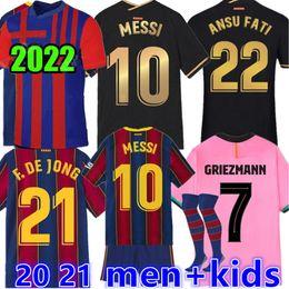 2022 Jersey de futebol Barca 21 22 Camiseta Futbol Ansu Fati 2021 Messi Grisezmann F.De Jong Maillots de Football Shirt Men Kids Kit Barcelona em Promoção