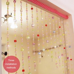 Wholesale princesses nails resale online - Princess Room Acrylic Crystal Curtains Nail free Installation Multicolored Bead Girls Safe Easy Installing Curtain Blinds