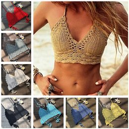 biquíni amarelo do sutiã venda por atacado-Mulher Designer de malha Bra Swimwear Crochet Halter Tops Bikini Vest Fashion Bandage Push up Boho Beach Acolchoado Bras Knitting Cami Tanques