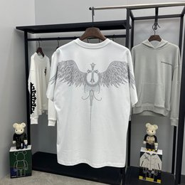 Wholesale t shirt wings back for sale - Group buy 21 Crosin spring and summer ch Necklace hot diamond T shirt back cross wing round neck short sleeve men s and women s lovers top short PA