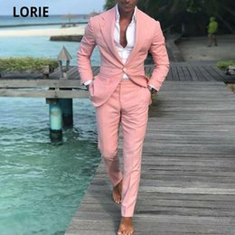 Discount white beach wedding suit Summer Beach Men Suits Pink For Wedding Ball Slim Fit Groom Male Suit 2 Pieces Plus Size Casual Jacket Pant Men's & Blazers