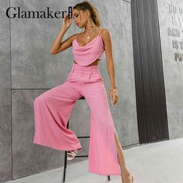 low waist sexy legging pants 2021 - Glamaker Pink 2 piece suit Women sexy ruffles top and wide leg pants with high split Party club camis tanks and trousers sets 210414