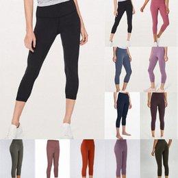 Wholesale Womens Legging lulu Slim Workout Leggings yoga pants high waist Stretch Elastic Jogging Gym Tights wide belt fitness 01