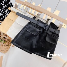Wholesale girls white blouse lace resale online - INS Newest Spring Autumn girls PU skirt baby skirt kids skirt children bottoms fashion faux leather waist belt front pockets T Y2