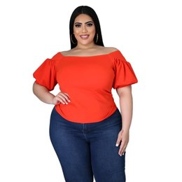 puffy shirt UK - High Stretch Women Slash Neck T-shirts 2021 Summer Latest Casual Short Puffy Sleeve Lady Plus Size Solid Color Tops Selling Women's T-Shirt