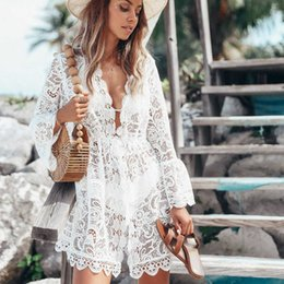 Discount sexy white crochet floral dresses Summer Women White Sexy Bikini Set Cover-ups Floral Lace Hollow Crochet Swimsuit Smocks Bathing Suit Beachwear Tunic Beach Dress