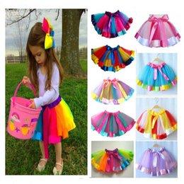 Младенческие девочки летом туту платье радуги цвет с шелковой лентой бантом юбка на день рождения платья принцессы платья Performance на Распродаже