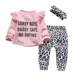 funny baby outfits UK - Newborn Baby Girl Clothes Set Cotton Long Sleeve Funny Letter Tops+Casual Leopard Pants+Headband 3Pcs Infant Toddler Outfits 210