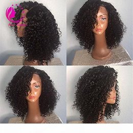brazilian curly bangs NZ - 150 Heavy Density Unprocessed Virgin Brazilian Kinky Curly Lace Front Wig Glueless Lace Front Human Hair Wig 14Inch With Side bangs