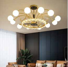 LED golden luxury living room chandelier lighting Nordic modern minimalist bedroom dining glass crystal