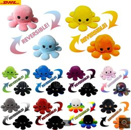 Hot Reversible Flip Octopus Stuffed Dolls Soft Double-sided Expression Plush Toy Baby Kids Gift Doll New Year Festival Party Supplies