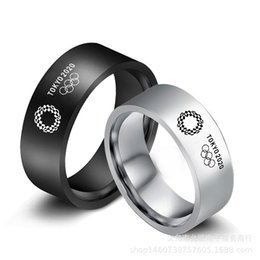 Wholesale olympics rings for sale - Group buy Tokyo Japan Olympic Games Commemorative Ring Fashion Stainless Steel Ring Black Sier