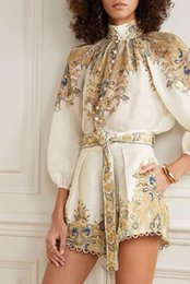 puffy shirt UK - Neutral Exotic Floral Print Stand Puffy Buttoned Up Linen Relax Blouse Belted Eyelet Shorts Set Vacay Lantern Sleeve Loose Shirt Women's Tra