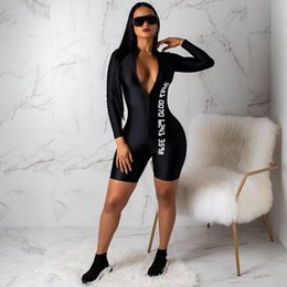 Wholesale bodycon romper shorts long sleeve resale online - Women s Sexy Deep V Neck Print Jumpsuit Long Sleeve Bodycon Romper Short Pants Sport Suit